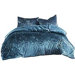SCM Bettwäsche 200x200cm Blau Einfarbig Mikrofaser 3-teilig Bettbezug & Kissenbezüge 50x75cm Luxus Crushed Velvet Ideal für Winter
