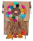 Das Kostümland Ethno Hippie Damen Umhängetasche mit Fransen - Hellbraun - Crossover Handtasche Minibag