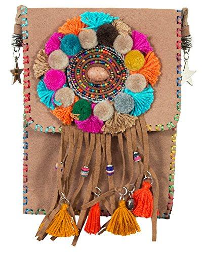 Ethno Hippie Damen Umhängetasche mit Fransen - Hellbraun - Crossover Handtasche Minibag