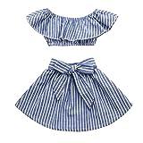 Hirolan 2 Stück Bekleidungssets Kleinkind Baby Kinder Mädchenkleider Knielang Festliche Kinderkleider Rüschen Oberteile Schulterfrei Gestreift die Röcke Outfits Bodysuit (120, Blau)
