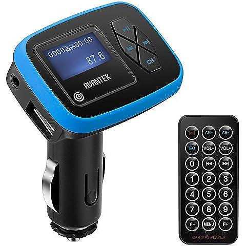 AVANTEK Transmisor FM para Coche Transmisor Universal Inalámbrico con Radio Adaptador de Coche, Reproductor de MP3, 3,5 mm Conector de Audio y Cargador de Coche de USB, Compatible con MP3 WMA Música en la Tarjeta SD y Unidad Flash de