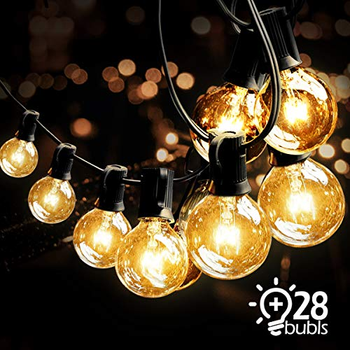 e Außen,Lichterkette Glühbirnen G40 Wasserdichte Innen und Außen Beleuchtung mit 9.5 Meter 28 Garten Lichterketten Dekoration für Garten, Hochzeit,Grill, Weihnachten ()