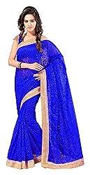 Aruna Sarees Womens Brasso Saree with Blouse Piece (Blue)