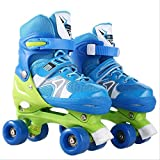 STBB Rollschuhe Schöne Stabile Kinder Rollschuhe Kinder Skaten Slalom Parallel Flashing Eisschuh Roller Schuhe Verstellbar Waschbar USA Blau s