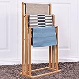 Costway 3 Tier Bamboo Towel Rack Freestanding Rail Holder Shelf Bathroom Storage Stand