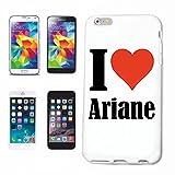 """Handyhülle iPhone 4 / 4S """"I Love Ariane"""" Hardcase Schutzhülle Handycover Smart Cover für Apple iPhone … in Weiß … Schlank und schön, das ist unser HardCase. Das Case wird mit einem Klick auf deinem Smartphone befestigt"""