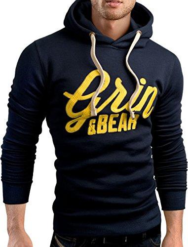 Grin&Bear slim fit Signatur Logo Jacke Kapuze Hoodie Sweatshirt Kapuzenpullover, navy, M, GEC469
