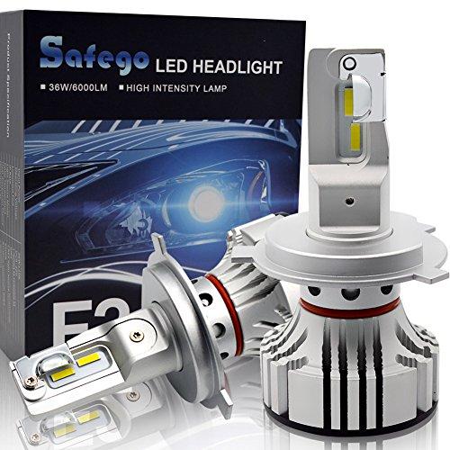 Safego Lampadine H4 LED 8000LM, Fari Abbaglianti o Anabbaglianti per Auto, Kit Lampada Sostituzione per Alogena Lampade e Xenon Luci, DC 12V-24V, 6500K Bianco, 2 Lampadine