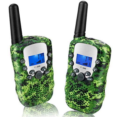 Topsung Walkie Talkie Kinder Funkgerät - Mit LCD Dispplay VOX Taschenlampe Walky Talky 3Km Long Range Woki Toki für Jungs (T388 Tarnung Grün)