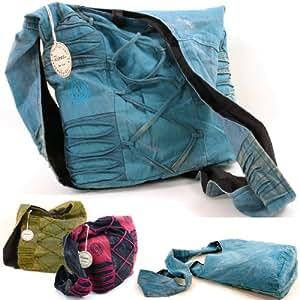 Vishes - alternative Bekleidung - Stonewash Yogitasche aus Baumwolle mit Stickereien (blau)
