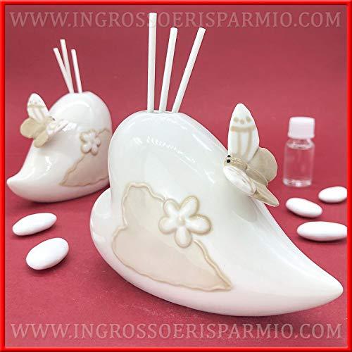 Ingrosso e risparmio profumatore per ambienti a forma di cuore in porcellana bianca e beige con farfalla, bomboniere utili matrimonio, nozze, completo di scatola regalo (con confezione rossa)