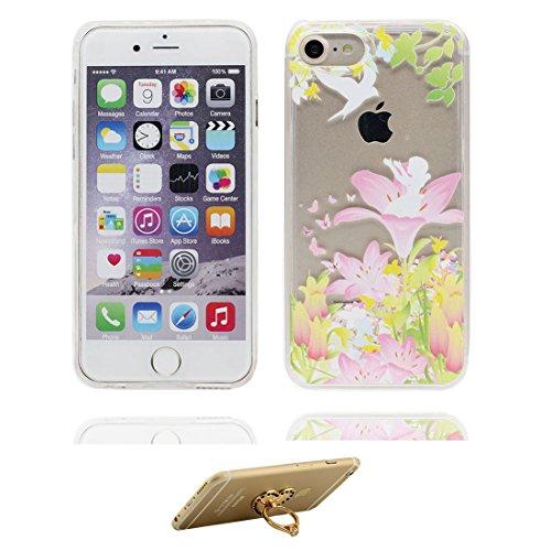 """iPhone 6 Plus Coque, Bling Glitter iPhone 6s Plus étui Cover (5.5""""), Fluide Liquide Sparkles Sables iPhone 6 Plus Case (5.5""""), (Marguerites) Shell anti- chocs et ring Support # 7"""