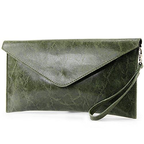 modamoda de - ital. Ledertasche Clutch Unterarmtasche Abendtasche Damentasche Handgelenktasche Glattleder T106G Oliv