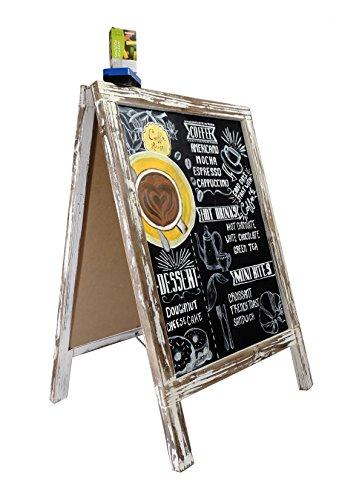 Vintage Kreidetafel mit Kreide und Radiergummi/stehend Holz rustikal Rahmen für Ihr Restaurant, Hochzeit und Event. Tafel Sandwich Board Werbung Zeichen für Kanten