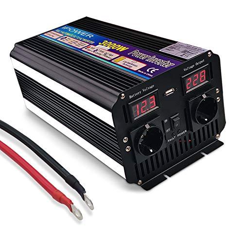 Yinleader Spannungswandler 3000W/6000W 12V 230V modifizierter Sinus Wechselrichter Power Inverter mit 2 Steckdose 1 USB und LED-Display, für Auto, Wohnwagen, Boot, Camping, Reisen
