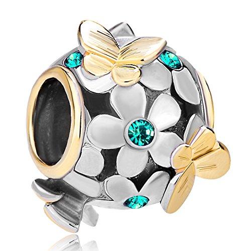 Uniqueen - ciondolo a sfera con farfalle, fiori e perline di cristallo, compatibile con braccialetti pandora, rame, cod. dpc_fa323_x01