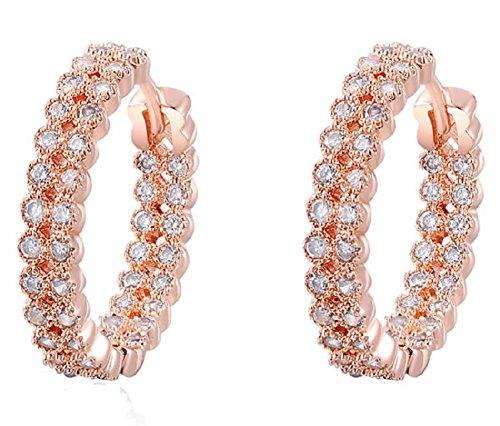 ROXI Damen-Elegant Rose Vergoldet mit Kristalle Champagner gepflastert Hoop (Pearl Halskette Pink Hot)
