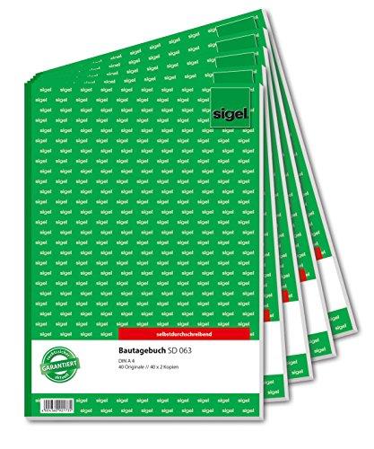 Sigel SD063/5 Bautagebuch A4, 3x40 Blatt, selbstdurchschreibend, 5 Stück