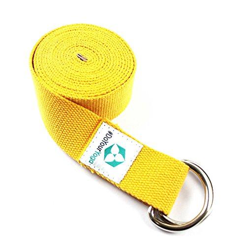 «sangle» madira/yoga belt-ceinture 100 %  coton avec bouchon anneau en métal solide/250 x 3,8 cm-différents coloris disponibles Jaune