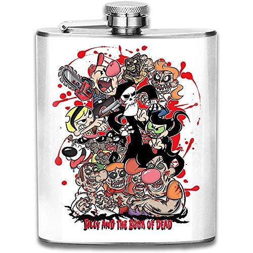 Grimmige Abenteuer Von Bill Und Mandy Billy Und Dem Buch Der Toten Flachmann Pocket Bottle Flagon Tragbarer Edelstahl-Flagon 7OZ