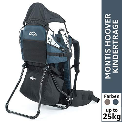 Montis Move Kraxe Kindertrage bis 25kg Kinder-Gewicht mit vielen Extras sowie Erweiterungen - geringes Eigengewicht, passend für beide Elternteile - geeignet als Einstieger Rückentrage, BLAU