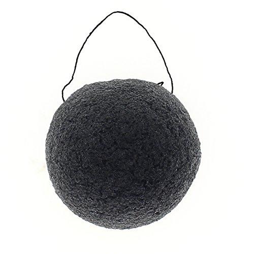 Eponge de Konjac Dermotechnic - éponge visage ronde au charbon de Bambou