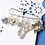 Sewer Brooch Sewing Machine Thimble Scissors Button Crafter Kilt Pin Sew Gift