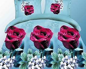 155x200 3D Bettwäsche Bettbezüge Bettwäschegarnituren Microfaser 4tlg schöne Farben und Muster Blumen FSH358