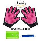 1 Paar = 2 Fellpflege-Handschuhe In Pink zur einfachen Entfernung loser Tierhaare, Massage für Hund & Katze PLUS Zeckenzange & Floh-kamm Von Amathings Pink