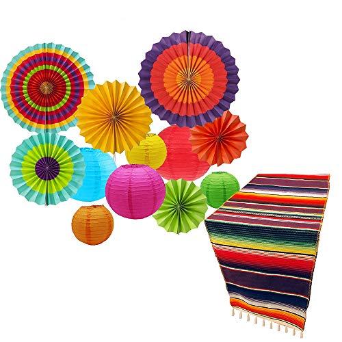 IMMEK Camino de mesa mexicano de yute natural para boda, festival, evento, decoración de mesa,Juego de accesorios y guirnalda de papel para fiesta mexicana del 5 de mayo