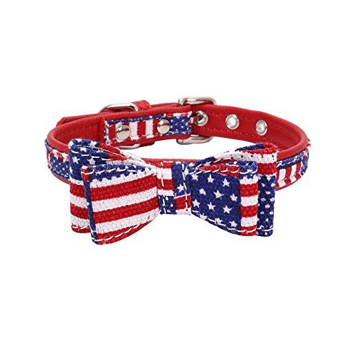 CAOQAO Exquisite Cute Einstellbare Diamant-Bowknot-Haustierhalsbänder - Für kleine Hunde und Katzen - Farbe: Grün/Rot/Schwarz/Himmelblau/Rosa/Rotwein/Pink - Größe 4