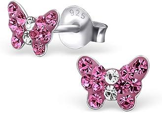 925 Silber Schmetterling Ohrringe mit 32 funkelden Kristallen in Rosa von Monkimau, Kinder-Schmuck, Sterling Silber, Damen, Frauen, Mädchen-Ohrstecker