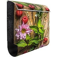 Cassetta postale design Flower raspberries mint, Dimensione: 46cm x 39cm - Lampone Menta Tè