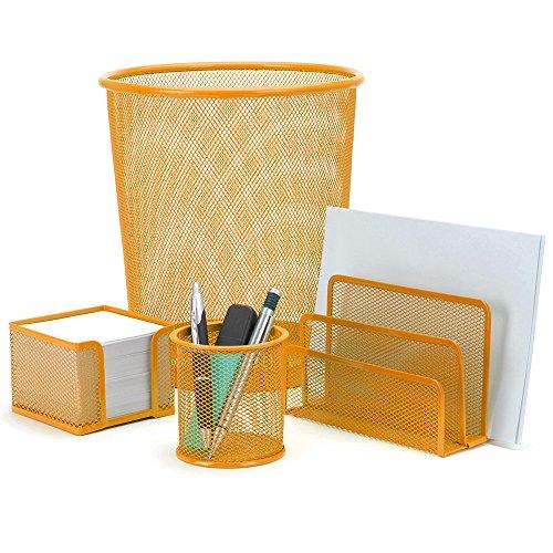 4 Teiliges Schreibtisch-set (Schreibtisch-Set Office 4-teilig, Metall (Orange))