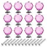 fanshop 10x cristal en verre acrylique découpe diamant boutons de porte de meuble...