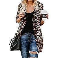LILICAT® Blusa de Manga Larga con Estampado de Leopardo y Blusa de Manga Larga para Mujer (marrón, S/M / L/XL)
