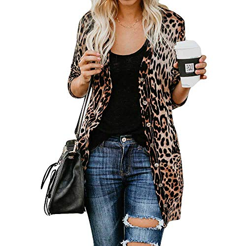 Hucode Damen Langarm Leopard Print Mode Mantel Bllouse T-Shirt Tank Tops - Gaze Gestreift Shirt