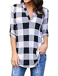 69dcb2bbdfcd8 Kyerivs Camisas a Cuadros Buffalo Check para Mujer Blusa con Cuello en V  Manga Corta Casual