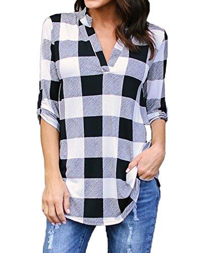 Kyerivs Camisas a Cuadros Buffalo Check para Mujer Blusa con Cuello en V Manga Corta Casual Blusa Larga (Blanco Negro, S)