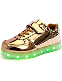 7155c2b675 GUDEER Kids Boy and Girl's 11 Color Led PU Sneakers Light Up Flashing  Skateboard Shoes (