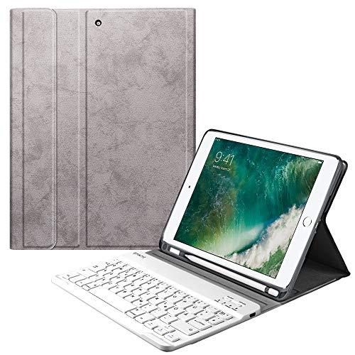 Fintie Tastatur Hülle für iPad 9.7 2018 (6. Generation), Soft TPU Rückseite Gehäuse Keyboard Case mit eingebautem Pencil Halter, magnetisch Abnehmbarer QWERTZ Bluetooth Tastatur, Silber grau Generation Gehäuse