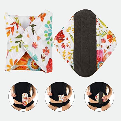 Holzkohle Bamboo Sanitary Pad, 6 Arten waschbar wiederverwendbare Slipeinlagen Anti-Fouling Menstruationskomfort Safe Tuch Pads(WSD13) - Natürliche Sanitary Pads