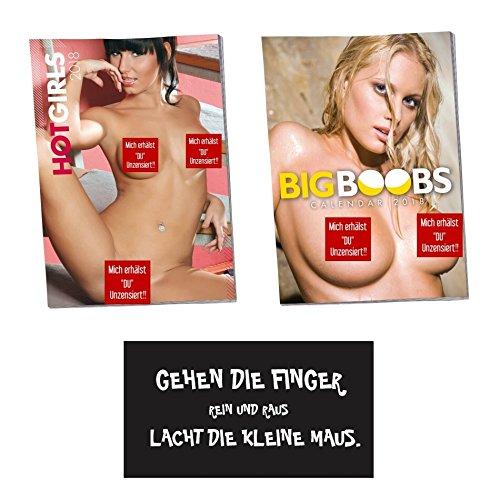 """Set Calendrier 2018érotique Fille chaude nue Filles et Gros seins grosse poitrine et inscription en allemand/Proverbe magnétique """"les doigts vont..."""""""