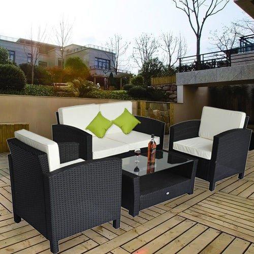 Set mobili da giardino in poly rattan 14 pz tavolino divano poltrona con cuscino nero marrone - Mobiliario jardin online ...