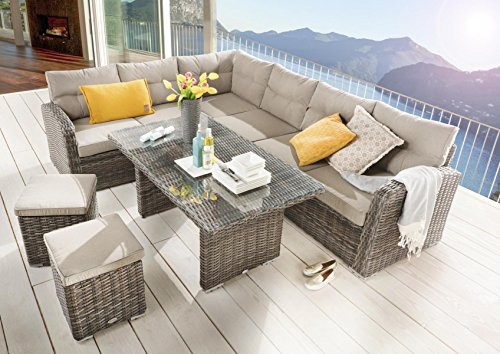 Destiny Loungegruppe Santa Ponsa Natur Braun Lounge Garnitur Dininglounge