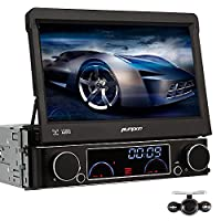 Pumpkin Single Din Head Unit with Free 8GB Map Card Car DVD Player with Rear Camera GPS Navigation 1 Din Car Stereo Support Bluetooth/Radio/SD USB/Subwoofer/Steering Wheel Control/AUX