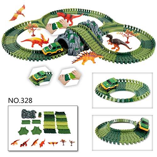 LaDicha Dinosaur Dino World Childrens Flexible Race Car Track Toys Construction Play-Set Toy - 32 (Race Car Track Rc)