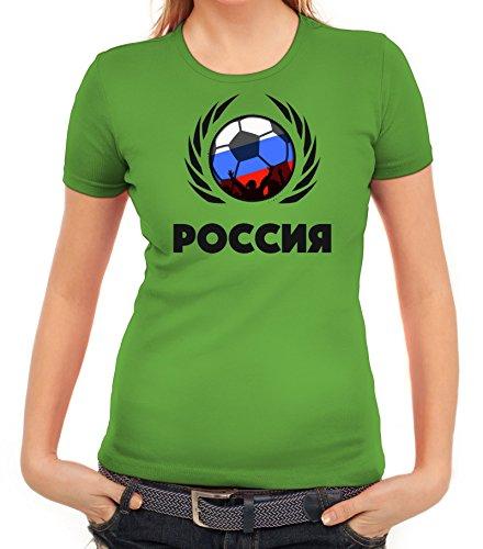 ShirtStreet Russia Poccnr Soccer Fussball WM Fanfest Gruppen Fan Wappen Damen T-Shirt Fußball Russland Apfelgrün