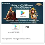 GET UP TO Rs.1250 BONUS IN RISE OF KINGDOMS||Google Play Gift Code - Digital Voucher