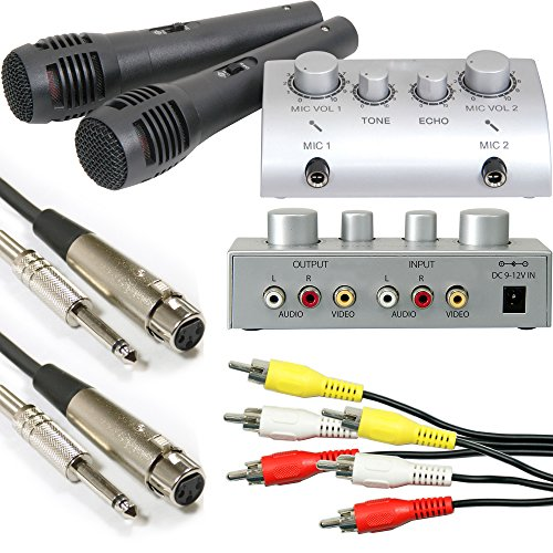 Plug & Play TV Karaoke Mixer & 2 x microphones-portable CD/DVD Mini Party Kit/Set